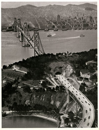 Aerial view of San Francisco - Oakland Bay Bridge at Yerba Buena Island