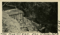 Lower Baker River dam construction 1925-04-10 Progress  View Elev. Of Forms 269.8