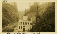 Lower Baker River dam construction 1925-11-13 View of Canyon (with powerhouse foreground, dam in background)