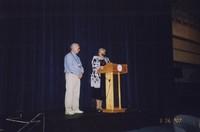 2007 Reunion--Jim Hildebrand, WWU President Karen Morse Onstage at the Banquet