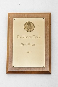 Badminton Plaque: DGWS Badminton Team 2nd place, 1970