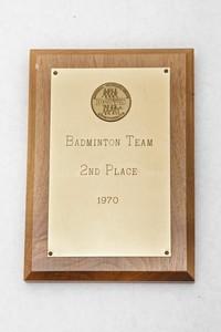 Badminton Plaque: DGWS Badminton Team 2nd place, 1970