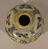 Jar, blue floral scroll decoration