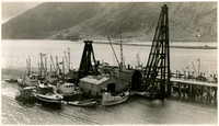 Small fleet of fishing seiners at dock warehouse