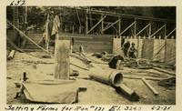 Lower Baker River dam construction 1925-06-02 Setting Forms for Run #121 El.324.3