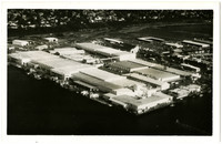 Postcard aerial view of Bellingham Cold Storage on Bellingham, WA, waterfront
