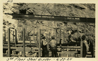 Lower Baker River dam construction 1925-06-22 3rd Floor Steel Girder