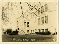 Front view of 3-story Washington School, Bellingham, WA
