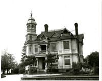Exterior of elaborate, Queen Anne style mansion of Henry Roeder family,