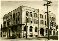 Exterior of dilapidated, formerly very grand, Fairhaven Hotel showing corner at Harris Avenue and 12th Street, Bellingham, Washington