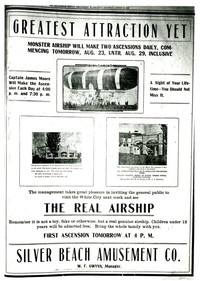 "Advertisement  for ""The Real Airship"" (dirigible) at the White City Amusement Park run by the Silver Beach Amusement Co. in Bellingham, WA, on Lake Whatcom"
