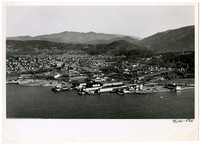 Aerial view from the west over Bellingham Bay toward Fairhaven with PAF buildings in the foreground