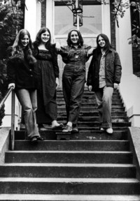 Group of women on the stairs at the YWCA