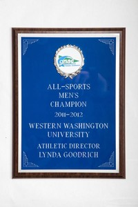 General Plaque: All-Sports Men's Champion, Athletic Director Lynda Goodrich, 2011/2012