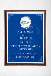 General Plaque: All-Sports Men's Champion, Athletic Director Lynda Goodrich, 2011/2012