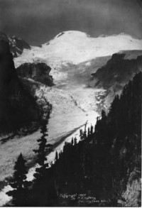 View of summit of Mount Baker from one of the glaciers below