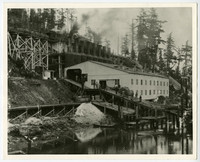 Tacoma and Roche Harbor Lime Co. lime kiln operaton built on hillside next to shoreline, with walkways extending up from docks, billowingn chimneys, and trestled railroad at top
