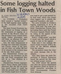 Some logging halted in Fish Town Woods