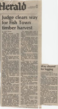 Judge clears way for Fish Town timber harvest
