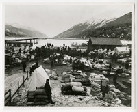 Klondike Gold Rush supply port on beach with piles of supplies, crowds of men, and mountains surrounding