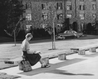 1961 Student in Front of College Hall