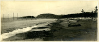 Small waves lap on shore with many driftwood logs scattered along beach, fishtraps extending into water on left
