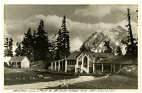 Mt. Baker Lodge's Heather Inn building with peak of Mt. Shuksan in background