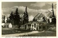 Mt. Baker Lodge's Heather Inn building with peak of Mt. Shuksan in background