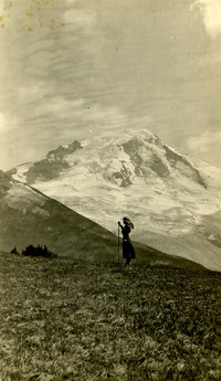 Woman hiker with Mt. Baker in background