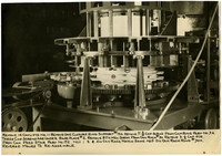 Salmon canning machine with detailed instructions on front of photo in ink for disassembling the machine