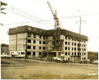 """Multi-story residential apartment building """"Chuckanut Square"""" under construction in Fairhaven, Bellingham, WA"""