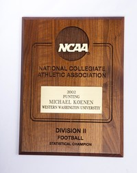 Football Plaque: NCAA Division 2 Statistic Champion, Michael Koenen, punting,             2002