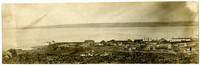 Birdseye view of lower end of Harris Avenue towards docks and Bellingham Bay