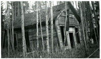 South Bay School, Lake Whatcom - Front and side exterior  of small, abandoned building surrounded by overgrown brush, saplings