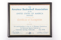 Basketball (Men's) Certificate: Amateur Basketball Association of the United States of America, certificate of recognition, Kevin Bryant, U.S. Olympic Committee 1st National Sports Festival at Colorado Springs, Colorado, 1978
