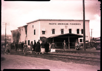 A crowd of people watch along railroad tracks as wooden Pacific American Fisheries building burns in a fire