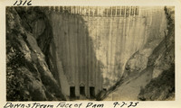 Lower Baker River dam construction 1925-09-07 Downstream Face of Dam