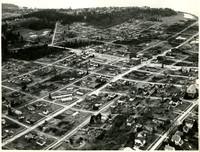 Birdseye view of Fairhaven, Washington, with street names written on photograph