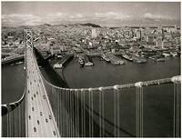 View from atop expanse of San Francisco - Oakland Bay Bridge looking toawrds San Francisco and the Embarcadero