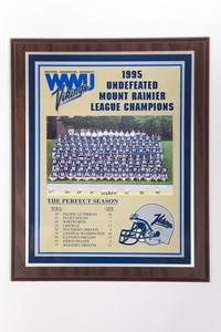Football Plaque and Photograph: Undefeated Mount Raininer League Champions, 1995