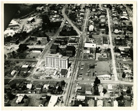 Aerial view of Fairhaven, south Bellingham, WA, showing construction of Chuckanut Square, the low-income senior housing facility
