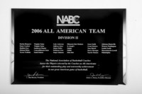 Basketball (Men's) Plaque: NABC All-American Team for Division 2, 2006