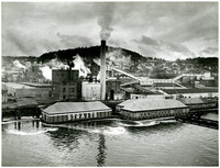 Aerial view of Georgia Pacific pulp and paper mill, Bellingham waterfront, downtown Bellingham