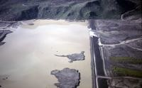 Army Corps of Engineers North Fork Toutle River impoundment from the air.