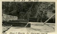 Lower Baker River dam construction 1925-04-17 Steel I-Beam for Sluiceway Closing Run #76