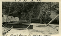 Lower Baker River dam construction 1925-04-17 Steel I-Beam for Sluiceway Closing Run #76