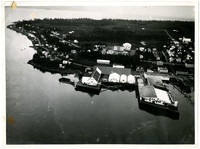 Birdseye view of small waterside town on peninsula with wharfs and warehouses
