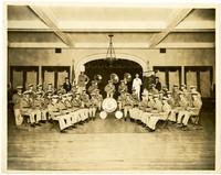 Bellingham Fraternal Order of Eagles Civil Band seated for portrait in Leopold Hotel.