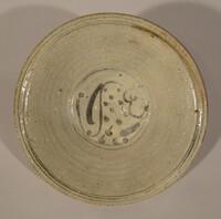 Sukhothai plate with underglaze iron black design of fish