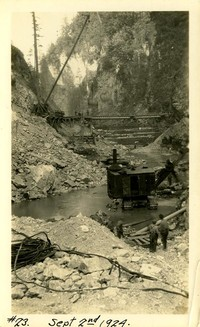 Lower Baker River dam construction 1924-09-02 Initial excavation of dam site